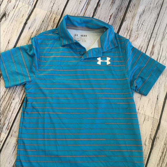 36552dc1 Under Armour Shirts & Tops | Heat Gear Loose Blue Polo Ymd Medium ...